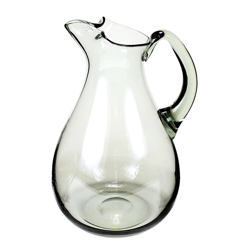 Smokey Black Pitcher, Hand Blown Jug, Mid Century Modern Decor