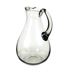 Mid-Century Pitcher, Smokey Glass, Hand Blown Jug