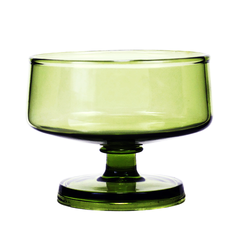 Vintage Green Sherbet Coupes, Mid Century Modern Dessert Glasses, Set/6