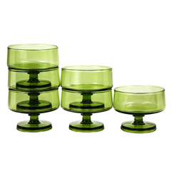 Mid Century Green Cocktail Coupes in a Set of 6.