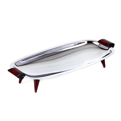 Glo-Hill Small Rectangle Serving Tray, Chrome, Burgundy Accents