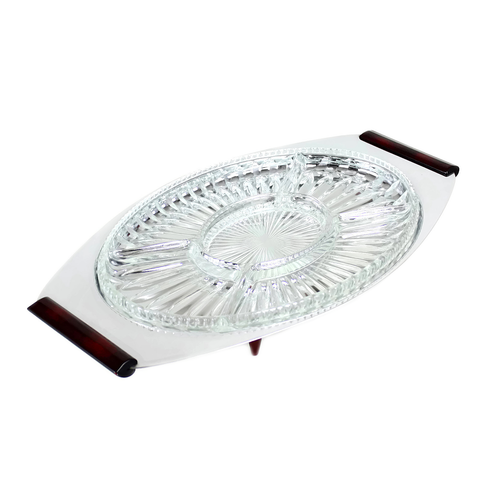 Glo-Hill Gourmates Serving Tray, Glass Insert, Chrome, Burgundy Accents