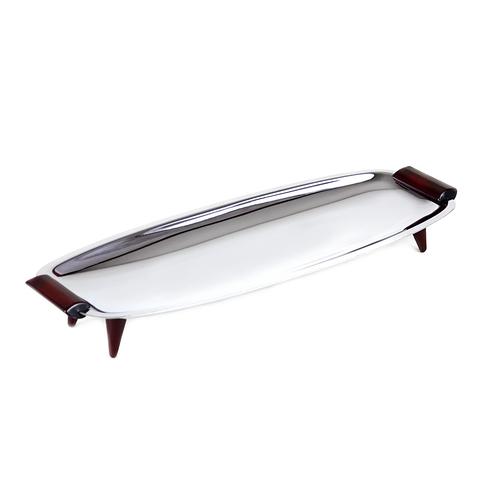 Glo-Hill Rectangle Serving Tray, Large, Chrome, Red Cherry Bakelite, 1960s MCM