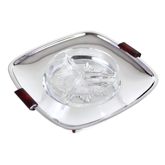 Glo-Hill Square Serving Tray, Glass Insert, Chrome, Burgundy Accents