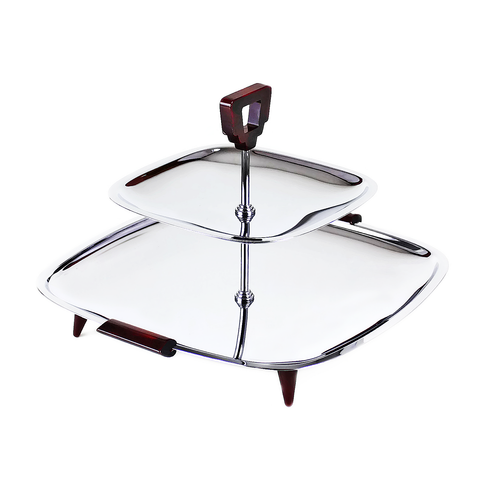 Glo-Hill 2-Tier Serving Tray, Chrome, Burgundy, 1960s