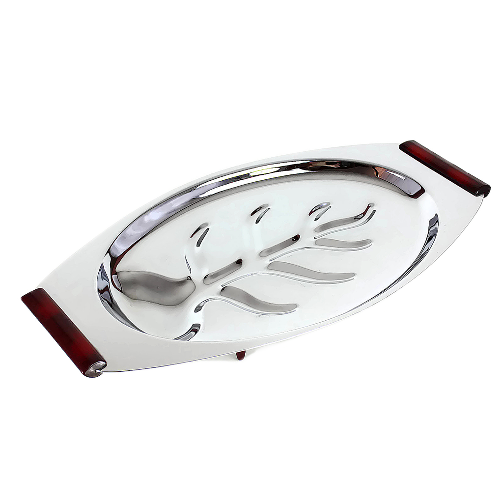 Glo-Hill Serving Platter, Tree Well Base, Chrome, Burgundy Accents