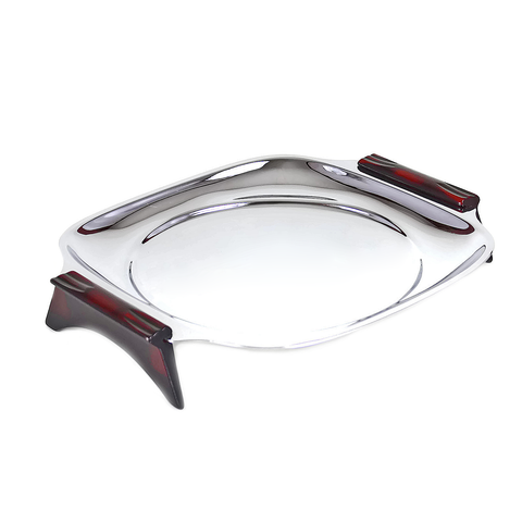 Glo-Hill Serving Tray, Round Insert Option, Chrome, Red Cherry Bakelite