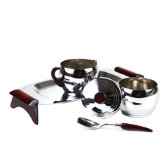 Glo-Hill Gourmates Cream & Sugar Caddy, Spoon, Burgundy Accents