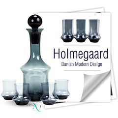 Holmegaard decanter set with 4 cordial glasses paired with 6 Holmegaard collins glasses.