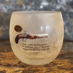 Collectible vintage roly poly glasses from the Adams Antique Gun Collection - Pistol barware