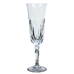 Vintage Crystal Champagne Flute with Cut Teardrop Pattern in Bowl.