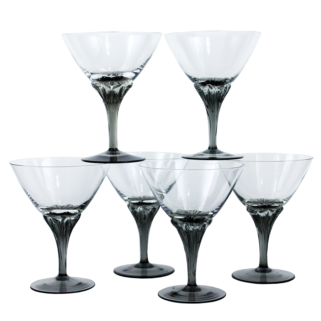 Vintage Crystal Cocktail Coupes, Smokey Stem Martini Glasses