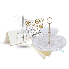 Crystal Dinner Bell and 2 Tiered Cake Server in Snowflake Pattern