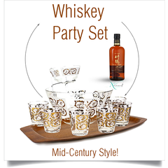 Whiskey Glasses, Chip & Dip Bowl Set, 22k Gold on White, Dominion Glass