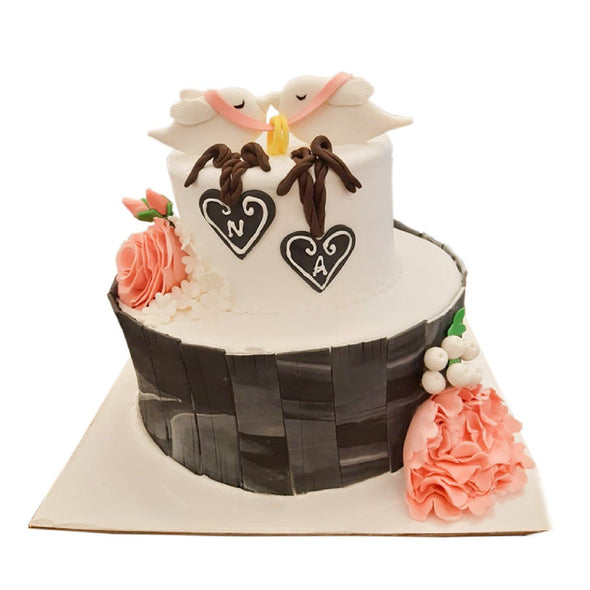 2 Tier Fondant Cake 2 The Cherry Tree Cafe