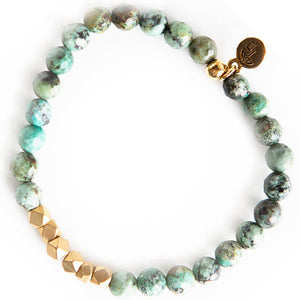 African Turquoise Gemstone Stretch Bracelets - 6mm