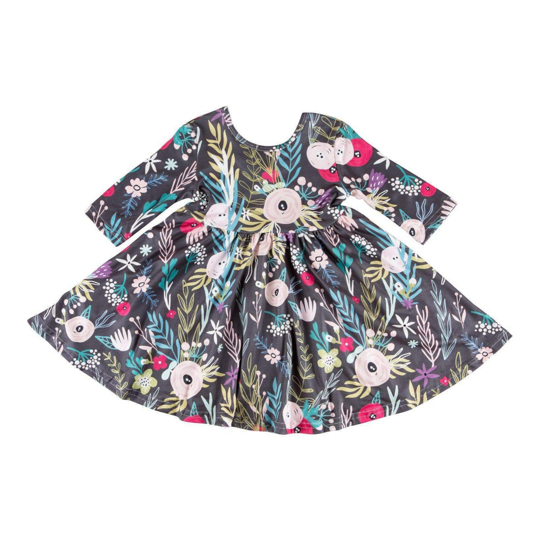 Black Woodland Floral Twirl Dress