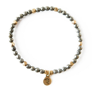 Pyrite Gemstone Stretch Bracelets - 4mm