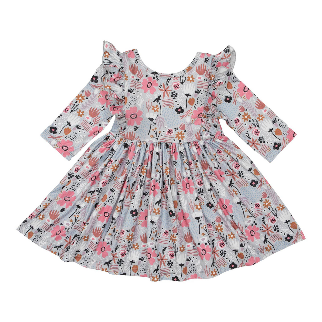 Sky Poppy Ruffle Twirl Dress