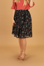 Load image into Gallery viewer, Olivia Full Chiffon Skirt-Navy Floral Rust