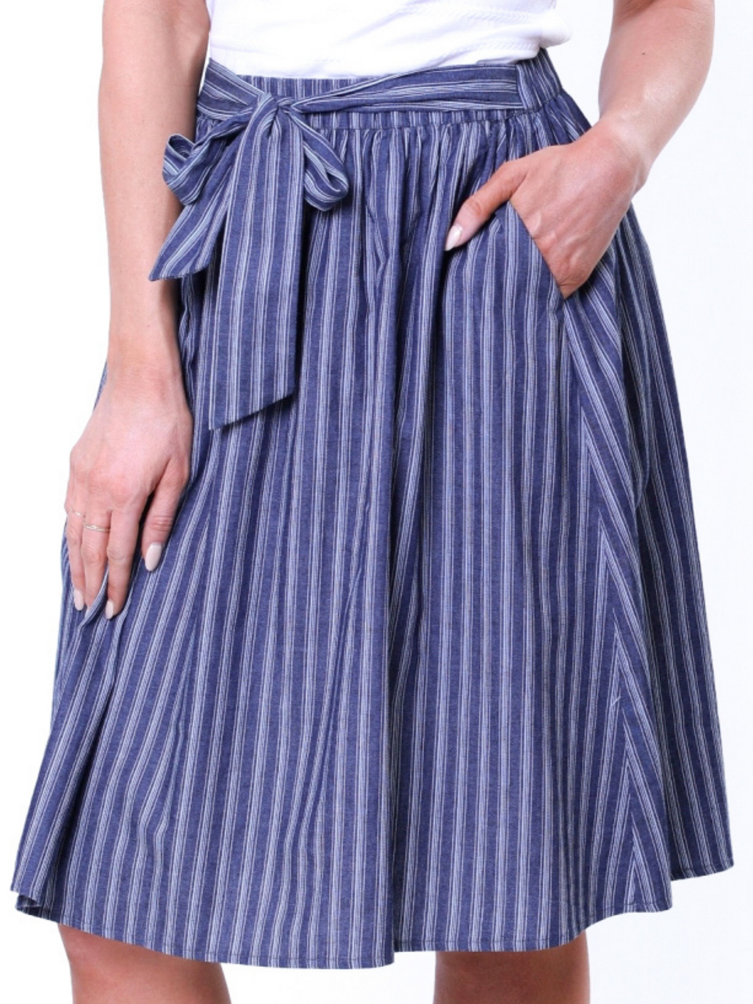 Harper Striped Tie Skirt