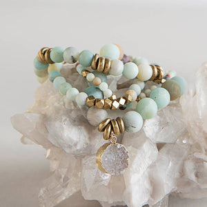 Amazonite Gemstone Stretch Bracelets - 6mm