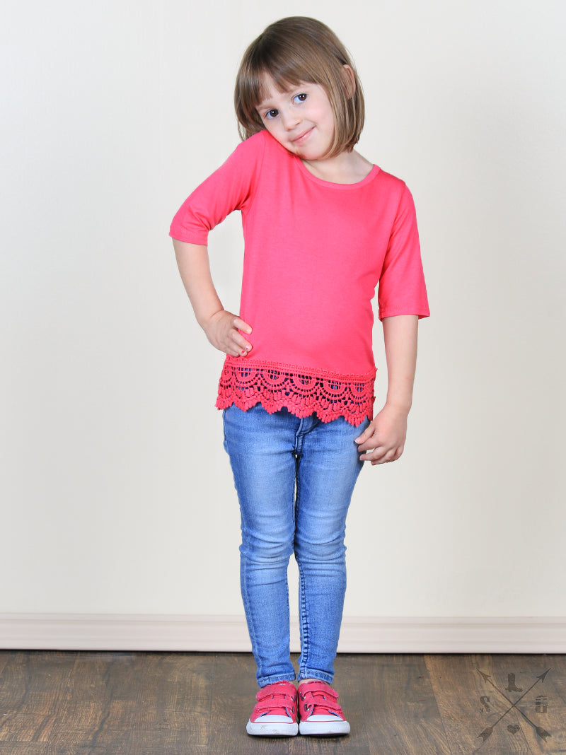 Mia Solid 3/4 Sleeve Tee with Crochet Lace