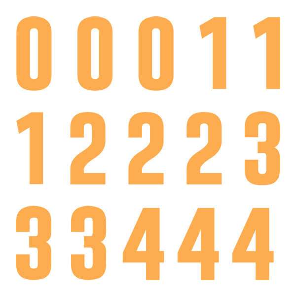 iD4 Euro Number Kit Orange Large Neon Sheet 1