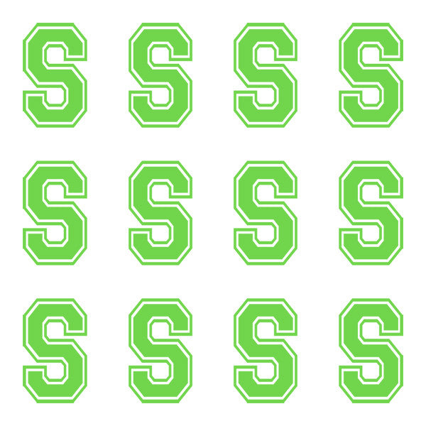 ID4 Varsity Large Lime Letter S
