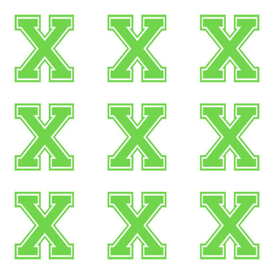 ID4 Varsity Large Lime Letter X