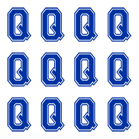Varsity Large Navy Blue Letter Q