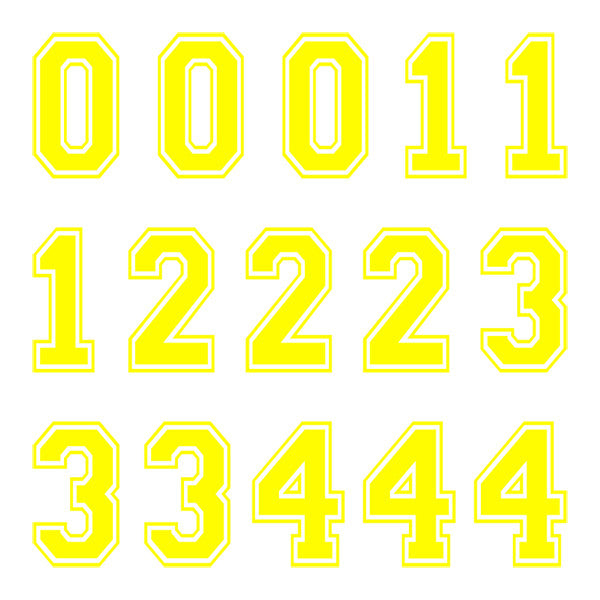 iD4 Varsity Number Kit Yellow Large Neon Sheet 1
