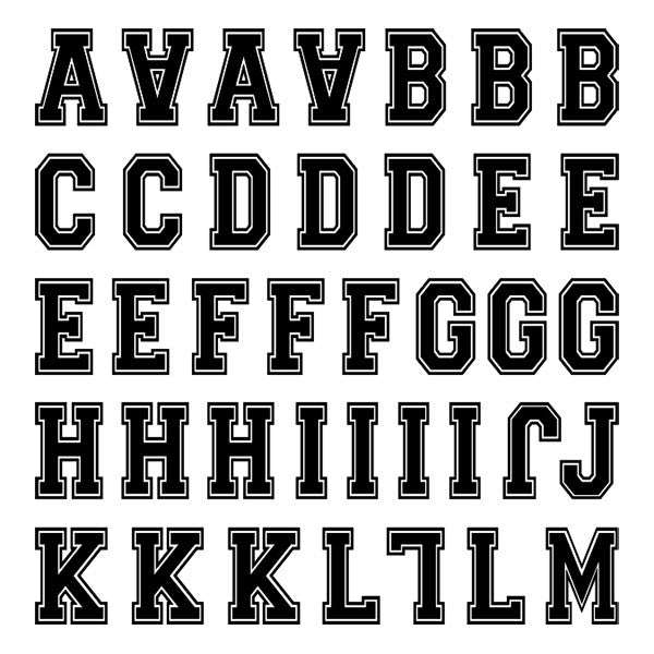 Varsity Small Black Letter Kit Two Sheets – iD4Gear