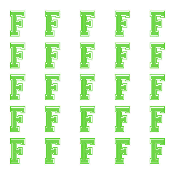ID4 Varsity Small Lime Letter F