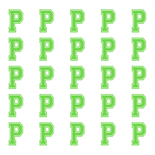 ID4 Varsity Small Lime Letter P