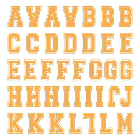 Varsity Small Neon Orange Letter Kit (Two Sheets)
