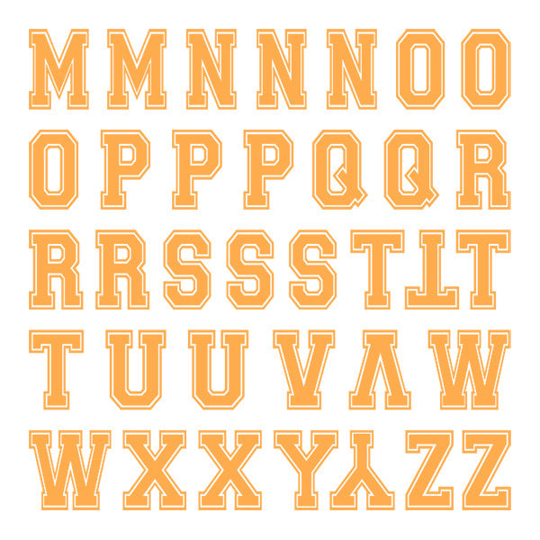 Varsity Small Neon Orange Letter Kit Two Sheets – iD4Gear