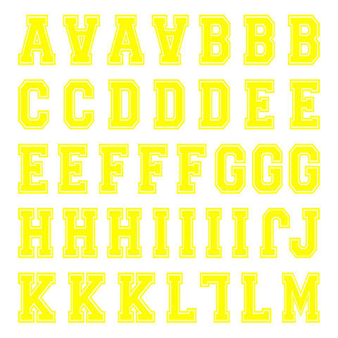 Varsity Small Neon Yellow Letter Kit (Two Sheets)