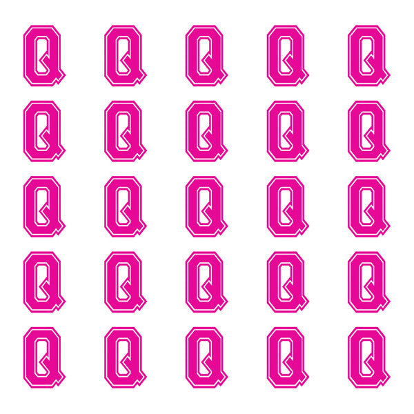 ID4 Varsity Small Pink Letter Q
