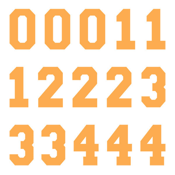 iD4 Varsity Pro Number Kit Orange Large Neon Sheet 1