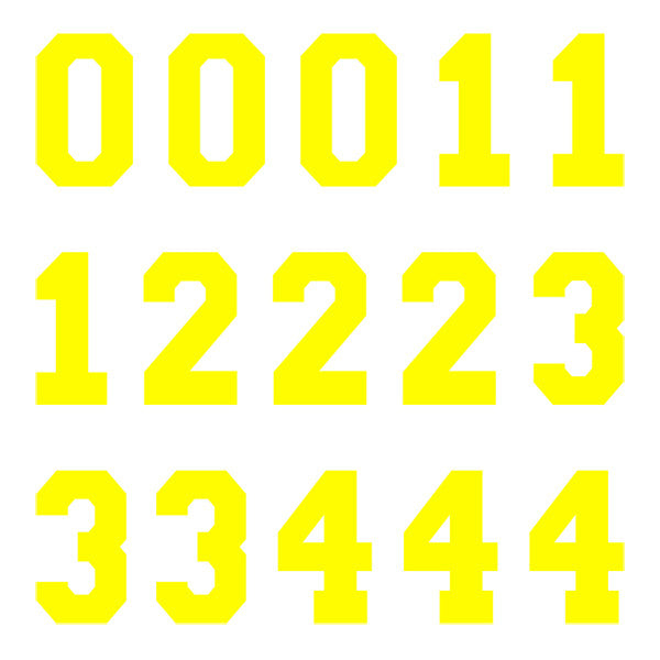 iD4 Varsity Pro Number Kit Yellow Large Neon Sheet 1