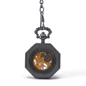 Octagon Skeleton Pocket Watch