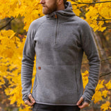 Men's Monk Pullover Wool Hoodie - Grey
