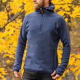 Men's Monk Pullover Wool Hoodie - Blue