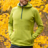 Men's Monk Pullover Wool Hoodie - Lime