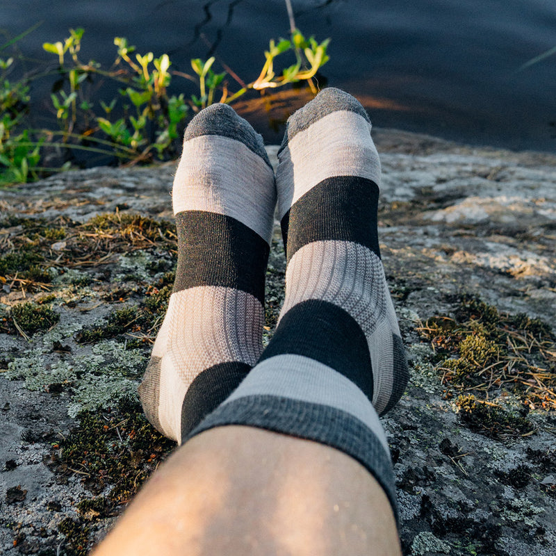 Everyday Merino Socks - Heavy stripes Grey