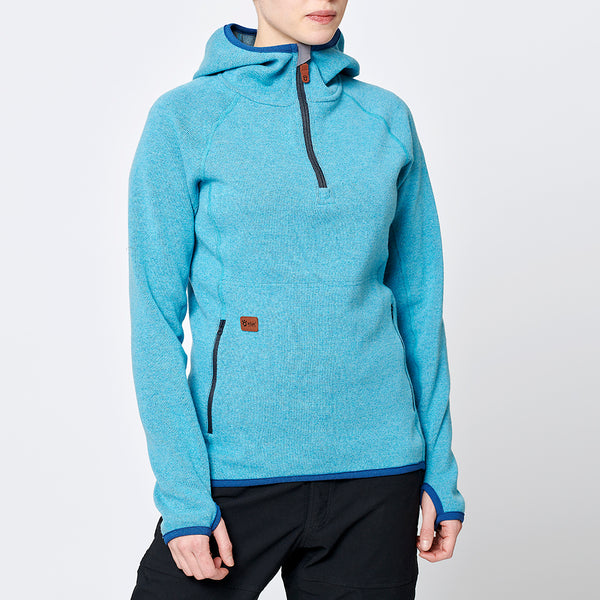Limited Women's Monk Pullover Wool Hoodie - Ice Blue