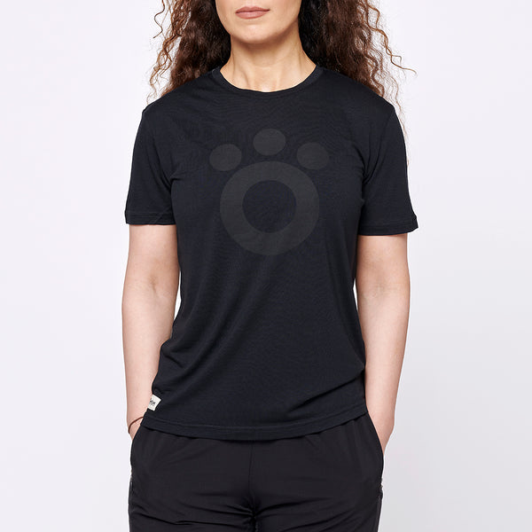 Women's Stroller Merino Tee - Big Black Logo