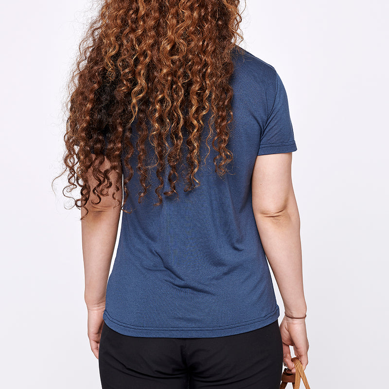 Women's Merino T-shirt - Blue Rowan Leaf