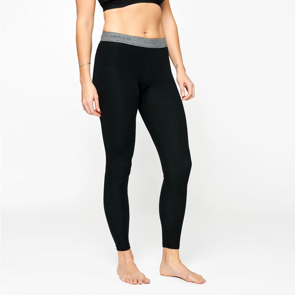 Women's Merino Base Long Pants - Black